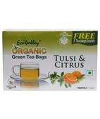 ECO VALLEY ORGANIC GREEN TEA TULASI & CITRUS 25 TEA BAGS