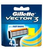 GILLETTE VECTOR 3 CARTRIDGES 4S