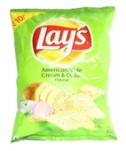 LAYS AMERICAN CREAM AND ONION 25GM PK OF 10