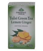 ORGANIC INDIA TULSI  GREEN  TEA LEMON & GINGER 18S TEA BAGS