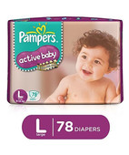 PAMPERS ACTIVE BABY DIAPERS L 78S
