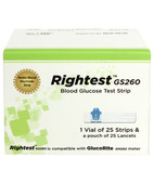 RIGHTEST GS 260 BLOOD GLUCOSE TEST STRIPS 25S+25 LANCETS