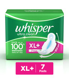 WHISPER ULTRA CLEAN WINGS SANITARY NAPKEENS XL 7S