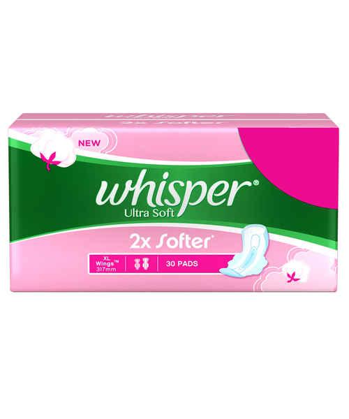 WHISPER ULTRA SOFT SANITARY PADS - XL WINGS (30 PADS)