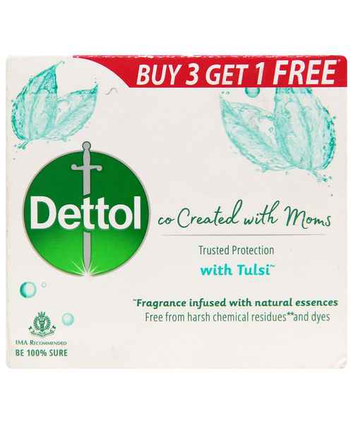 DETTOL CO-CREATED WITH MOMS TULSI SOAP 75GM BUY 3 GET 1 FREE