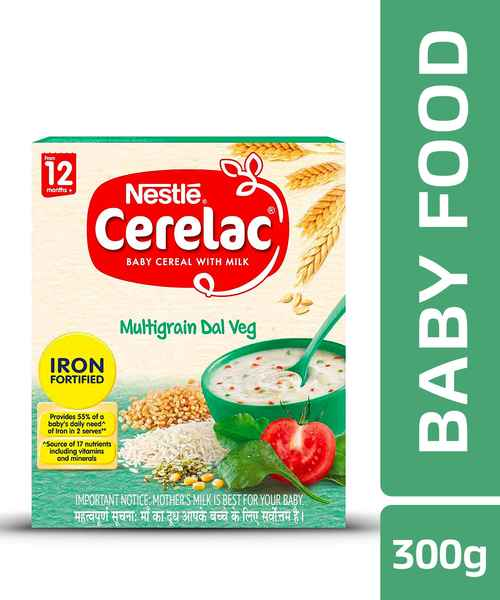 NESTLE CERELAC FORTIFIED BABY CEREAL WITH MILK, MULTIGRAIN DAL VEG - STAGE 4 300GM