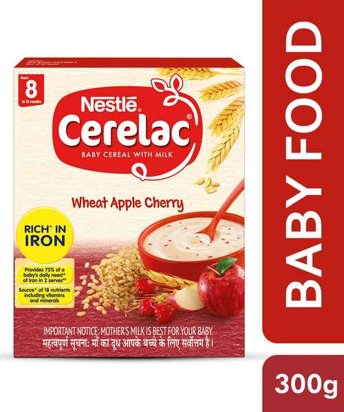 NESTLE CERELAC FORTIFIED BABY CEREAL WITH MILK, WHEAT APPLE CHERRY - STAGE 2 300 GM