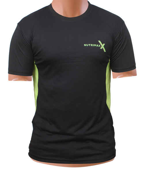 NUTRIMAXX T SHIRT BLACK WITHGREEN PATCHL