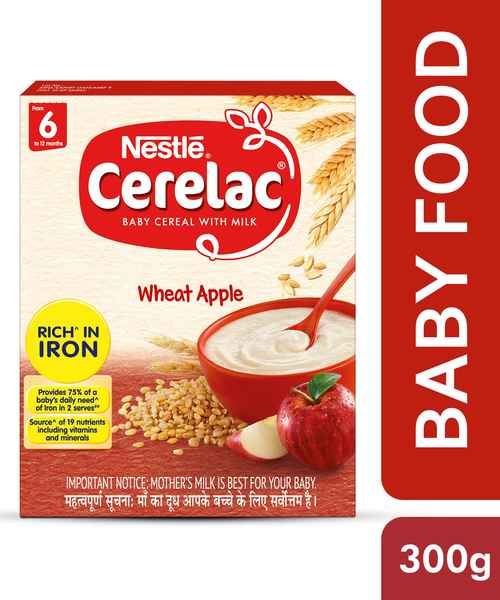 NESTLE CERELAC FORTIFIED BABY CEREAL WITH MILK, WHEAT APPLE - STAGE 1 300GM
