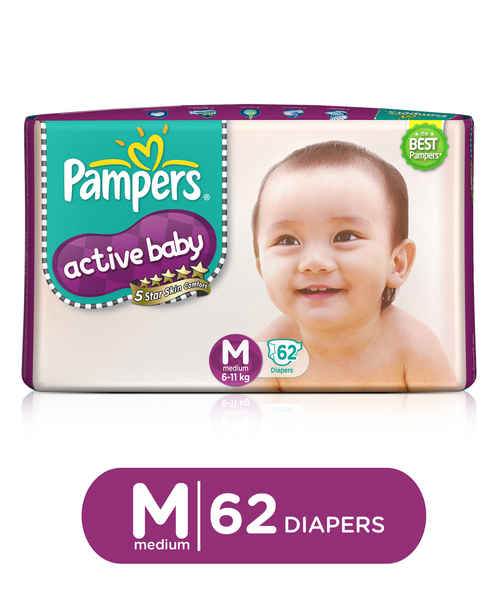PAMPERS ACTIVE BABY DIAPERS - MEDIUM 62S