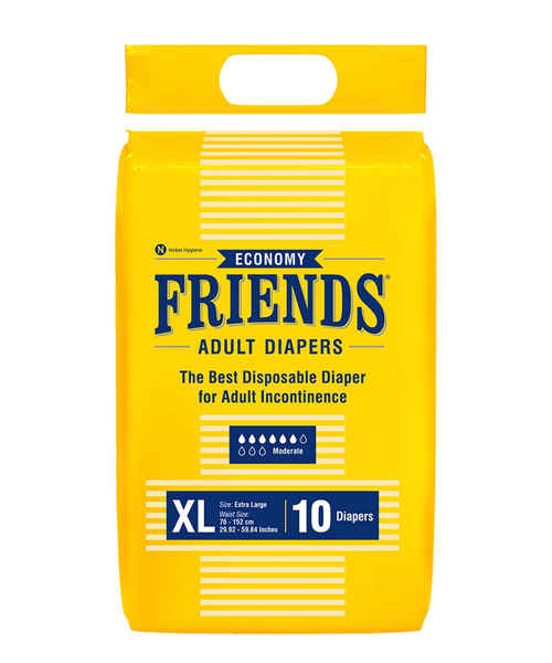 FRIENDS ADULT DIAPERS ECONOMY XLARGE 10's