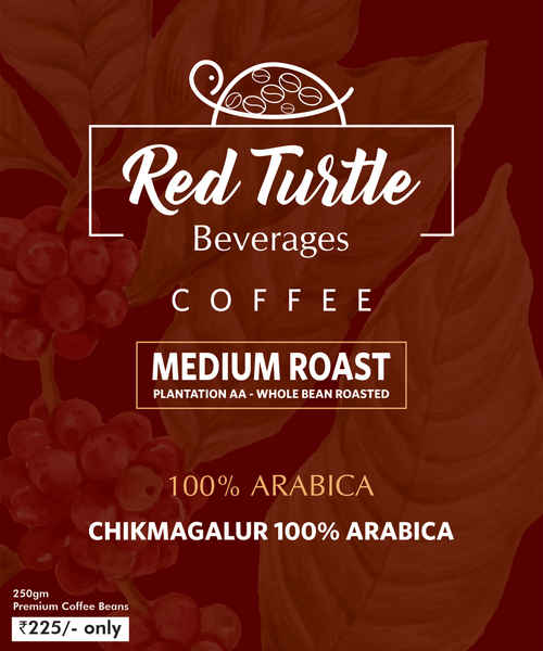 RED TURTLE 100% ARABICA ROASTED COFFEE BEANS 250GM