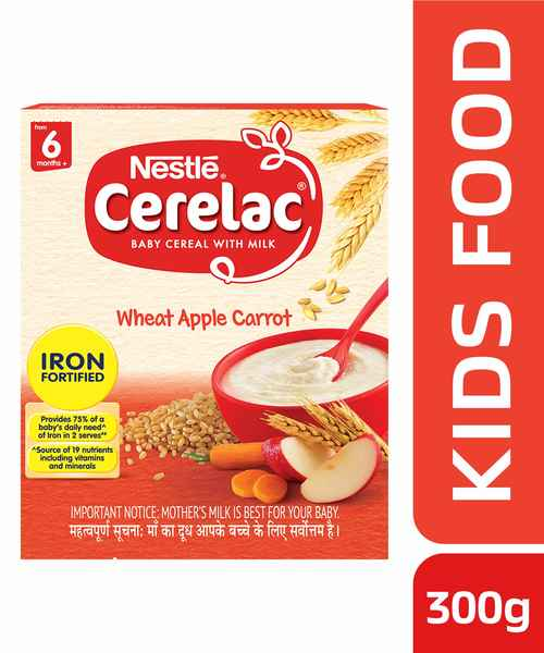 NESTLE CERELAC FORTIFIED BABY CEREAL WITH MILK, WHEAT APPLE CARROT - STAGE 1 300GM