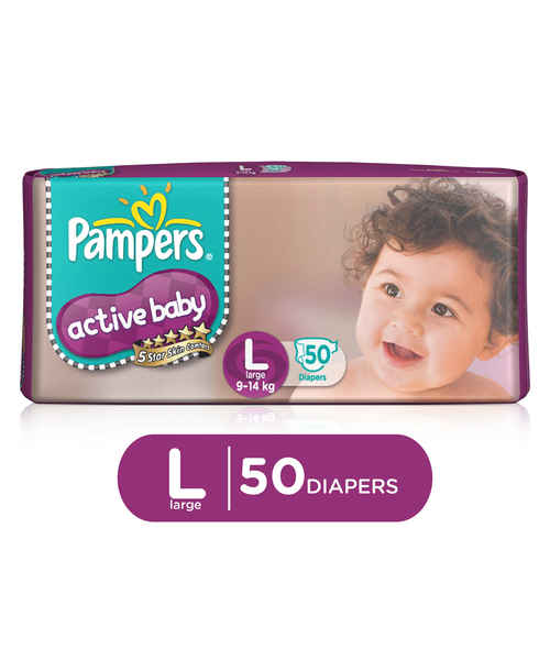 PAMPERS ACTIVE BABY DIAPERS - LARGE 50S
