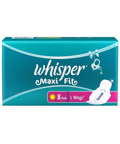 WHISPER MAXI FIT 8PADS L WINGS SANITARY NAPKEENS