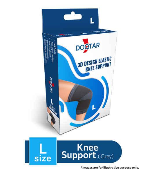 DOQTAR ELASTIC KNEE SUPPORT (GREY)-L