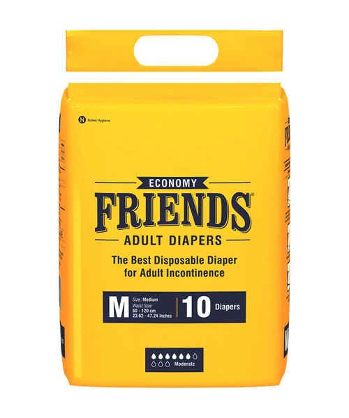 FRIENDS ADULT DIAPERS ECONOMY MEDIUM 10's