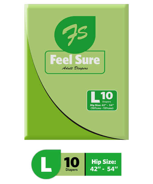 FEEL SURE ADULT DIAPERS - LARGE 10S