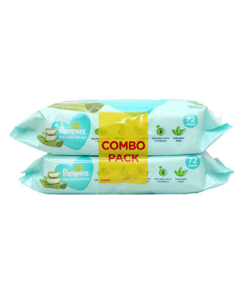 PAMPERS BABY WIPES WITH ALOE 72 WIPES*2 COMBO PACK