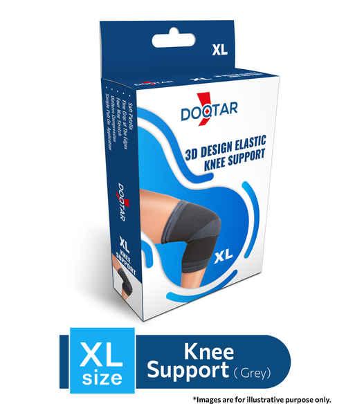 DOQTAR ELASTIC KNEE SUPPORT (GREY)-XL