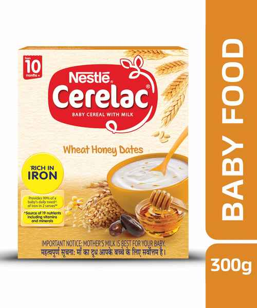 NESTLE CERELAC FORTIFIED BABY CEREAL WITH MILK, WHEAT HONEY DATES - STAGE 3 300GM