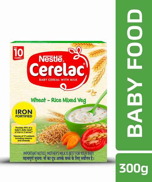 NESTLE CERELAC FORTIFIED BABY CEREAL WITH MILK, WHEAT-RICE MIXED VEGETABLES - STAGE 3 300GM