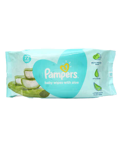 PAMPERS BABY WIPES NATURAL ALOE UNSCENTED TUB 72 S