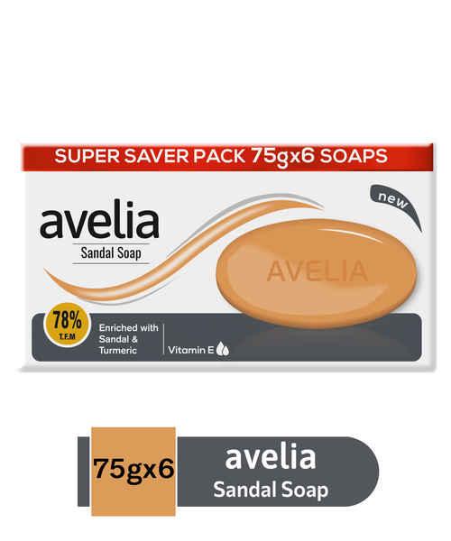 AVELIA SANDAL & TURMERIC 6 X 75GM SOAP